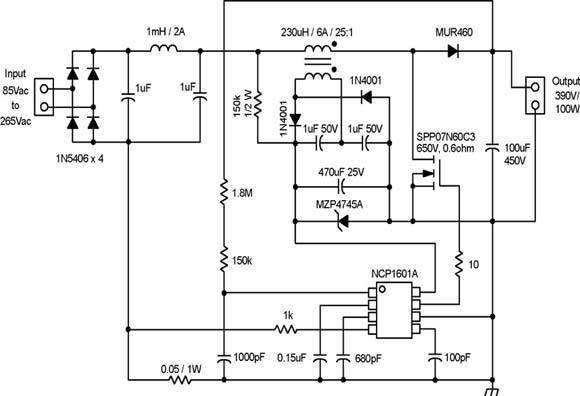 NCP1601A DCM PFC 控制器用于100 W 应用