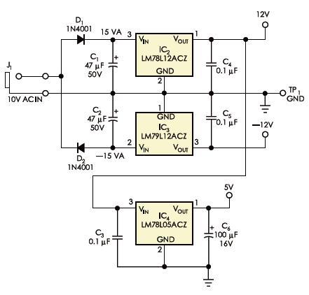 该AD/DC电源电路为音频信号路由器供电