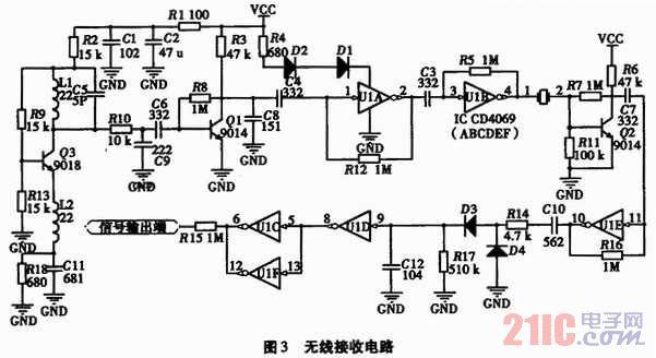 晶振组成高频振荡器,c,d,e,f分别组成整形及驱动电路,信号经三极管
