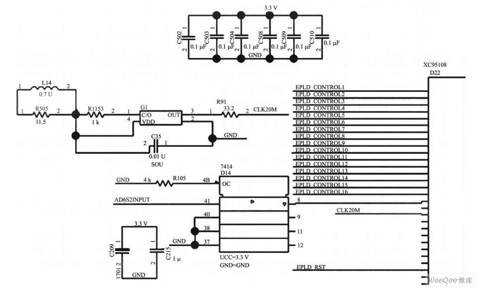 基于CPLD的频率计电路原理图