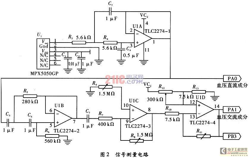 4 hz一阶高通滤波器,tlc2274-3构成反相放大器,闭环放大倍数kf1可以