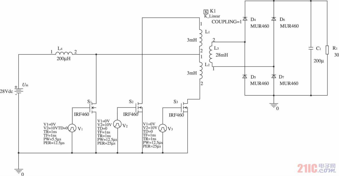 图3 升压变换电路的主电路仿真图