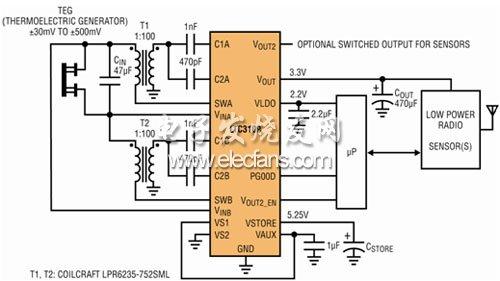 自动极性能量收集器供电的无线传感器节点