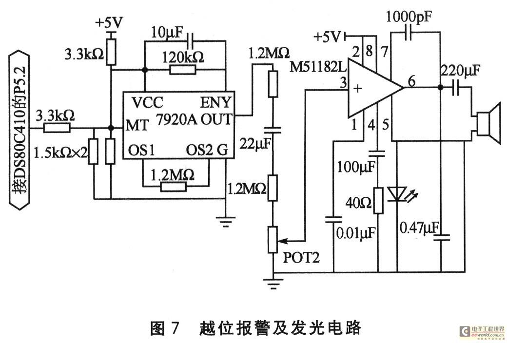 经过放大电路m51182l放大后,驱动扬声器发出相应的报警乐曲声,音量的