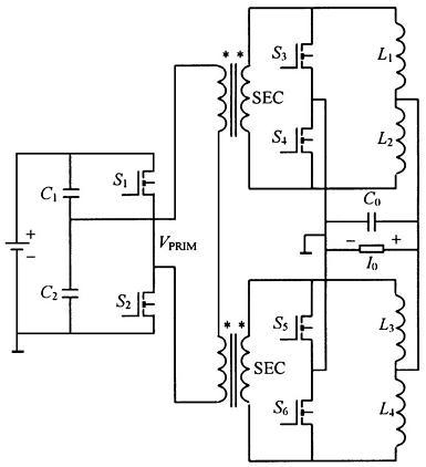 交错并联低压大电流DC-DC变换器的电路原理图