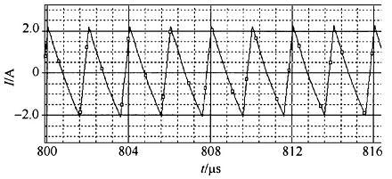 单个倍流整流变换器结构的输出电流纹波波形