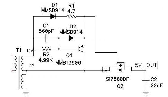 图1: Q1 快速关闭同步反向 FET Q2