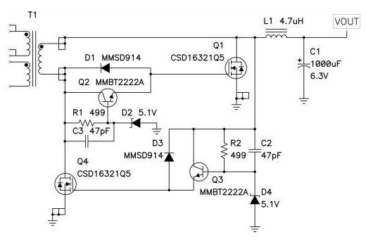 图2: D2 和 D4 限制了该同步正向驱动器中正栅极电压