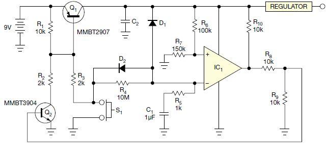 图1,本电路采用了一个rc定时器,每次瞬时开关触点闭合时,电路都会按