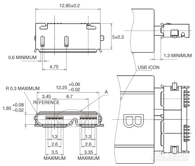 图2,连接器总宽为12.85mm,大于USB 2.0连接器(数字来自USB 3.0规格)。