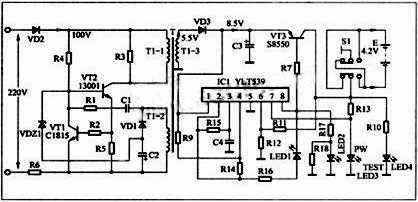 此时,三极管vt2和开关变压器t1组成的间歇振荡电路开始工作,开关