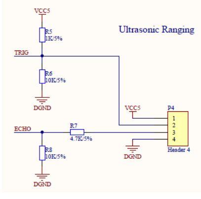 p4插座將用于超聲波測距模塊的連接